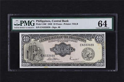 1949 Philippines Central Bank 10 Pesos Pick#136f  PMG 64 Choice UNC