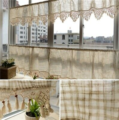 Remarkable Check Linen Kitchen Cafe Curtain Tier Valance French Country Home Interior And Landscaping Palasignezvosmurscom