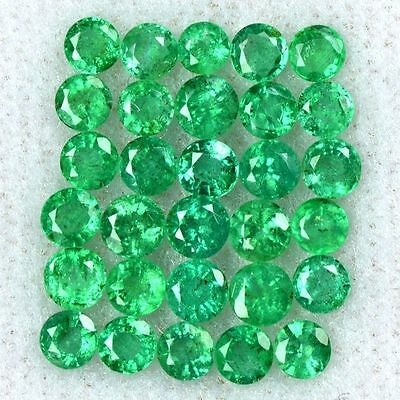 3.12 Cts Natural Top Green Emerald Round Cut Lot Zambia Loose Gemstone Size 3 mm