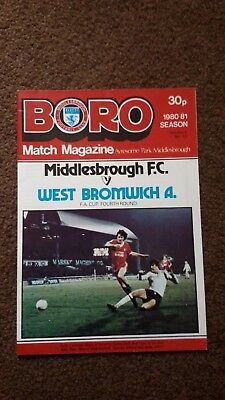 Middlesbrough V West Bromwich Albion Fa.cup Fourth Round 1980/81
