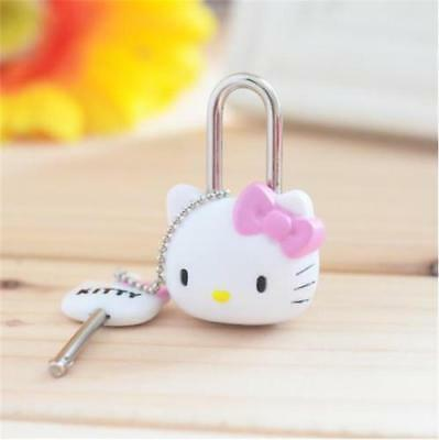 1pc Kawaii Pink Cartoon Hello kitty Lock Cat Multifunctional Mini Lock with Key@
