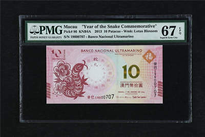 "2013 Macau ""Year of Snake Commemorative"" 10 Patacas Pick#86 PMG 67 EPQ Gem UNC"