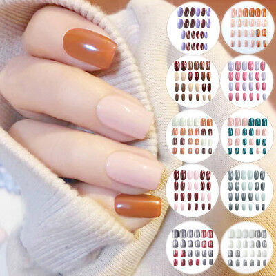 24pcs False Nails Manicure Tools Cosmetics Nail Fake Solid Color