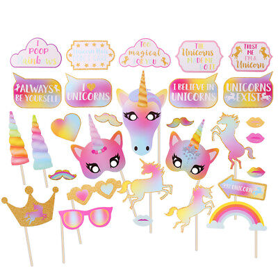 30PCS Rainbow Unicorn Pegasus Photo Booth Prop Kit Party Camera Props Decor cckk