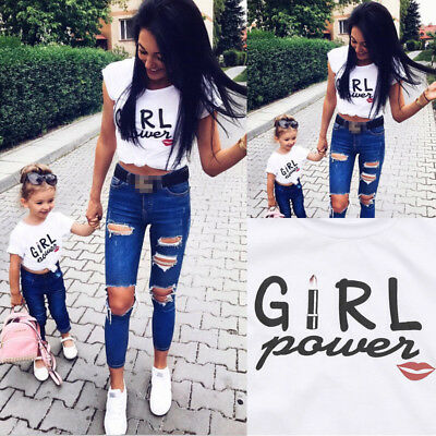 UK Family Matching Outfits T-shirt Mother Daughter Girl Power Tops Blouse Summer