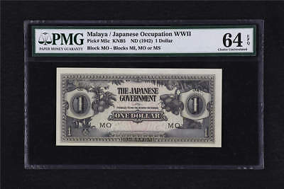 1942 Malaya /Japanese Occupation WWII 1 Dollar Pick#M5c PMG 64 EPQ Choice UNC