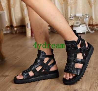 36e0ce80583 Roman Cool Leather Mens Gladiator Sandals Summer Beach Casual High Top Shoes