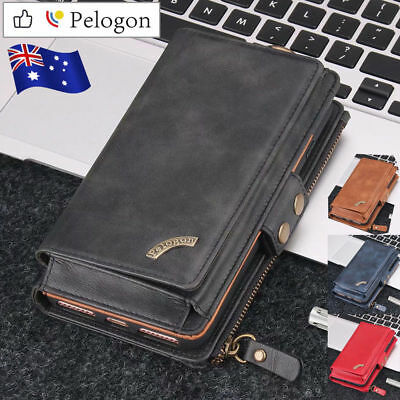 For Samsung Galaxy S10 5G S9 S8 Plus S7 Edge Zipper Wallet Leather Case Cover AU