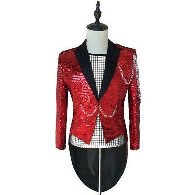 mens sequins one button tuxedo show wear coat chain club stage jackets costume s