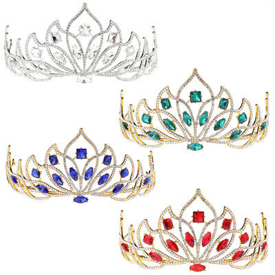Colorful Rhinestone Princess Crown Bride Wedding Tiara Jewelry Women Western