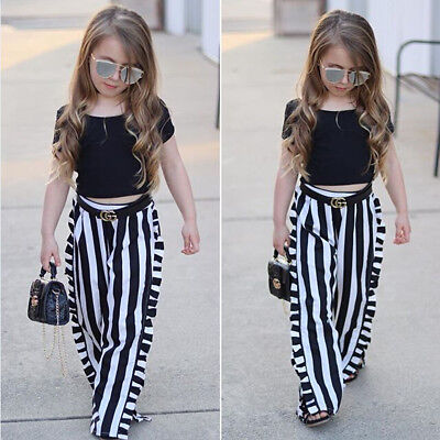 Toddler Kids Baby Girls T-shirt Tops+Long Pants Summer Outfits Clothes 2PCS Set