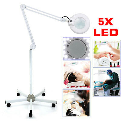 5x Magnifying Lamp Glass Lens Round Head Beauty Magnifier 5 Wheels Floor Stand