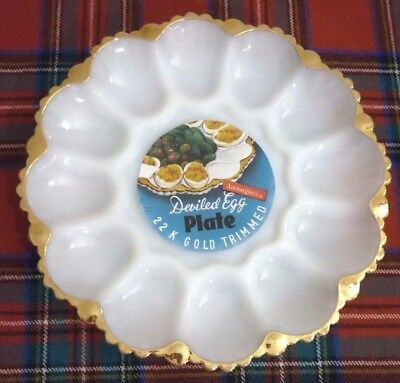Vintage Anchor Hocking White Milk Glass 12 Space Egg Serving Plate Gold Trim
