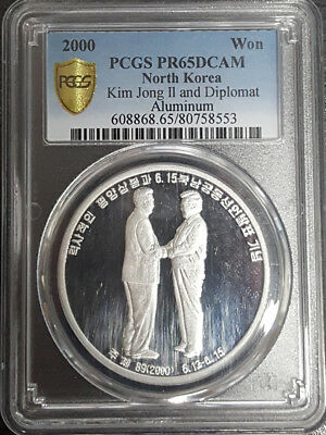 Korea 2000 President Meeting Diplomat Peace Talk Aluminum Proof Coin PCGS 65