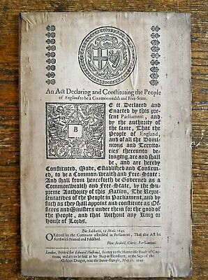 VERY RARE 1649 Act of Commonwealth, Oliver Cromwell, House of Commons, E Husband
