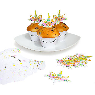24 Einhorn Muffin Cupcake Topper Deko Set Kuchen Dekoration Geburtstag Party