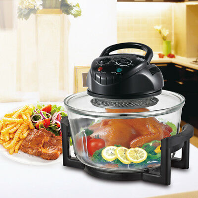 Halogen Infrared Convection Countertop Oven Cooker Air Fry Toaster 12Quart Black