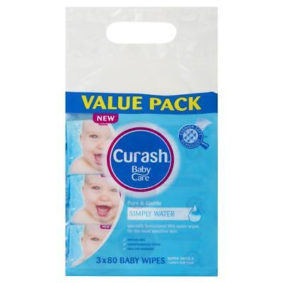 3x Curash Babycare Simply Water Wipes 3 x 80