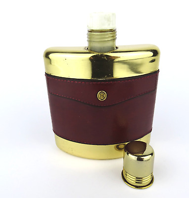 alte GOLDPFEIL Flachmann Flasche Leder travel hip flask bottle 60s vintage
