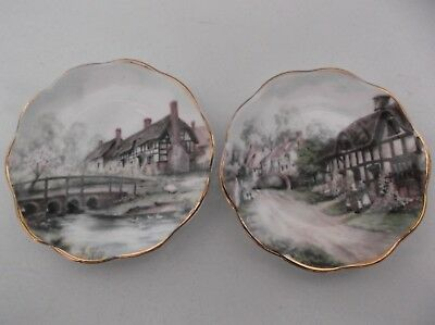 Two Royal Victorian Small Collectors Plates - English Country Cottages - Made In