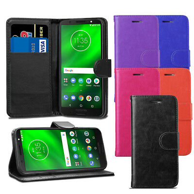 For Motorola Moto G6 Case - Premium Leather Wallet Flip Case Pouch Cover