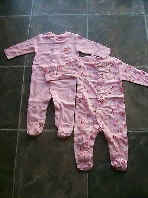 BNWNT Baby Girl's 2 Pack Pink Cupcakes Coverall/Sleepsuit/Sleeper Size 00