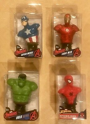 Lot Of Four (4) Mini Paper Weight Set Marvel Figurine Busts•Original Packaging
