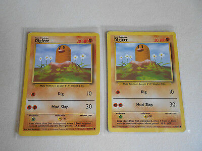 Pokemon TCG Original Base Set Lot of 2 Common Cards Diglett 47/102 Moderate Play