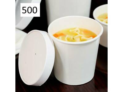 (250 Pack) 16 oz. Double-Wall White Paper Soup / Hot Food Cup with Vented Lid