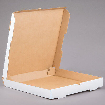 "14"" x 14"" x 1 3/4"" White Corrugated Plain Pizza / Bakery Box - 50/Bundle"