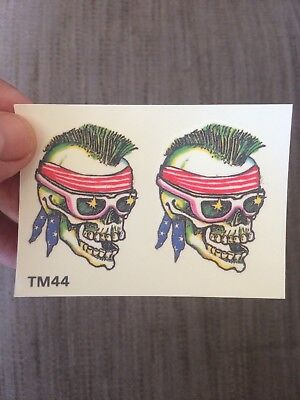 2x sheets of Temporary tattoos, two skulls. Put on foot, arm, leg, hand etc
