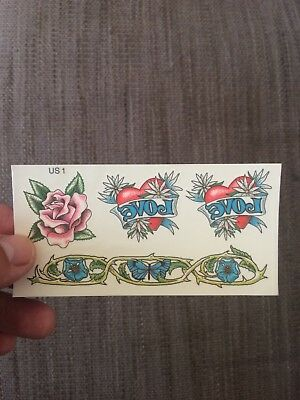 Temporary tattoo, one rose, two hearts and a pattern per sheet. Foot arm leg