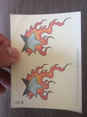 5x sheets of Temporary tattoos. Two Fire Stars. Put on hand, back, foot, arm etc