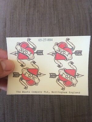 2x sheets of Temporary tattoos. Four love hearts. Put on hand, back, foot, arm.