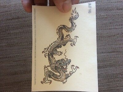 4x sheets of Temporary tattoos. A dragon. Put on hand, back, foot, arm etc