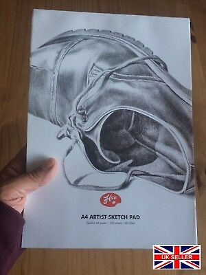 A4 ARTIST SKETCH PAD -white 100gsm A4 art paper. Cardboard backing