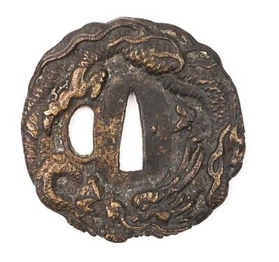 Japanese Cast Dragon Tsuba made of Brass - Made in 20th century