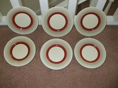6 Susie Cooper ArtDeco side plates Wedding Band Design + 1 Charger