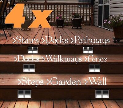 4Pcs Outdoor Solar LED Deck Garden Stair Step Fence Lights Wall Pathway Deck