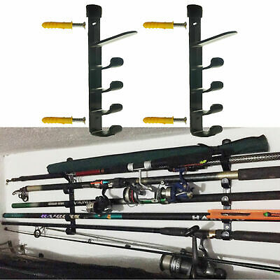 2Set Horizontal Wall Fishing Rod Rack for Fishing Rod Storage Holds up to 5 Rods
