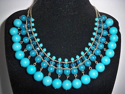 Vintage Art Deco Glass Bead Bib Necklace Turquoise Color Beads Matching Earrings