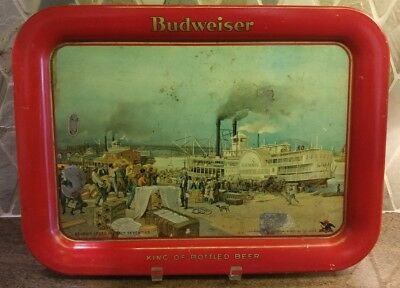 King of Bottled Beer Budweiser Steamship St. Louis Serving Tray 13X17 1934
