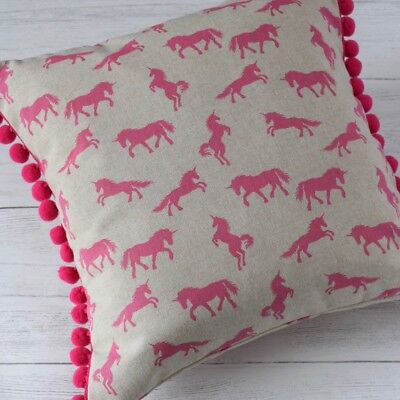 Handmade Hot Pink Unicorn Print Pom Pom Cushion, Nursery, Bedroom, Pillow