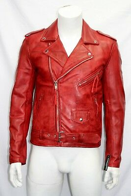 Brando Mens Classic Biker Fitted Designer Style Red Soft Napa Leather Jacket