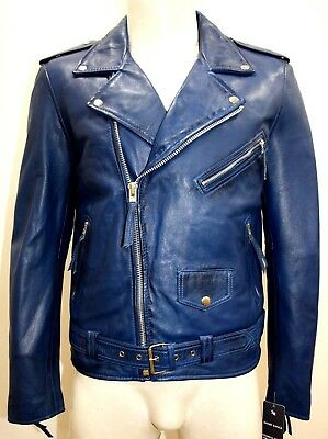 Brando Mens Classic Biker Fitted Designer Style Blue Soft Napa Leather Jacket