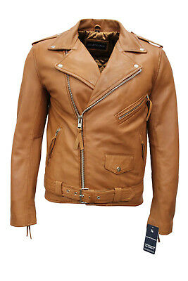 Brando Mens Classic Biker Fitted Designer Style Tan Soft Nappa Leather Jacket
