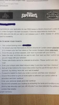 The London Dungeon/ Shrek's Adventure x 2 anytime tickets