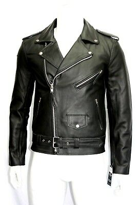 Brando Mens Classic Biker Fitted Designer Style Black Real Hide Leather Jacket