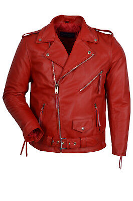 Brando Mens Classic Biker Fitted Designer Style Red Real Cowhide Leather Jacket