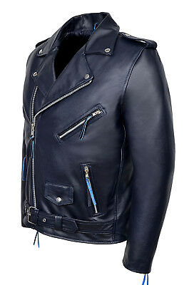Brando Mens Classic Biker Fitted Designer Style Navy Blue Hide Leather Jacket